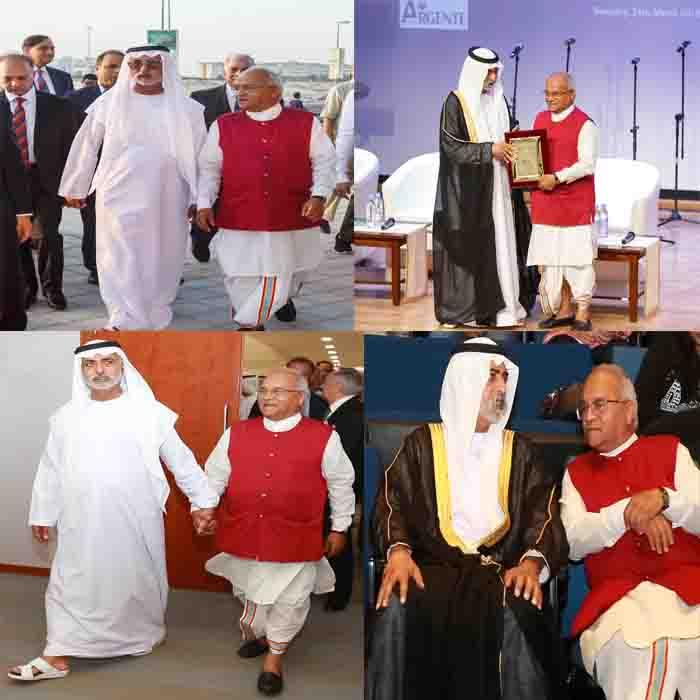 दुबई में दीया ग्लोबल फाउंडेशन के उद्घाटन के अवसर पर अबू धाबी के शेख नाहयान मुबारक के साथ डॉ. वैदिक